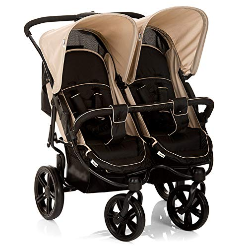 XUE Baby Stroller, Twin Baby Falten Sit and Lie with 5-Point Safety System and Multi-Positon Reclining Seat Extended Canopy Easy One Hand Fold Large Storage Basket -