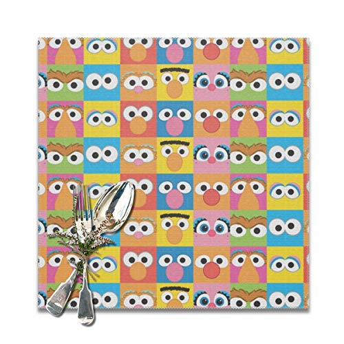 Funny&shirt Sesame Street Character Eyes Pattern Placemats for Dining Table,Washable Placemat Set of 6, 12x12 inches