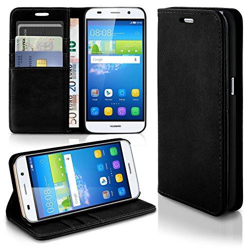 Caso casual para Huawei Y6 | caso práctico con ranuras para tarjetas y la función del soporte | Bolsa de protección celular OneFlow | La cubierta del tirón en Onyx
