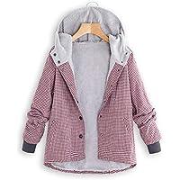 Hanomes Damen pullover, Damen Winter Warm Outwear Plaid Gitter mit Kapuze Taschen Vintage Oversize Mäntel preisvergleich bei billige-tabletten.eu