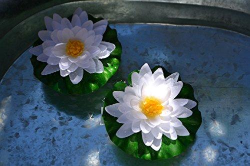 Teichdekoration- 2 Stück Seerose in grün-weiß- täuschend echt-hübsche Seerose - mit Blüte und Blätter, robust, mit Schlaufe zur Befestigung - Durchmesser 14 cm, Kunststoff