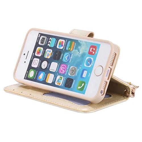 Migliore Choise Flip Case per iPhone e 5S & SE Luminous Girl Pelle goffrata Cover Folio Stand Portafoglio Shell Lanyard in foto frame regalo perfetto gold