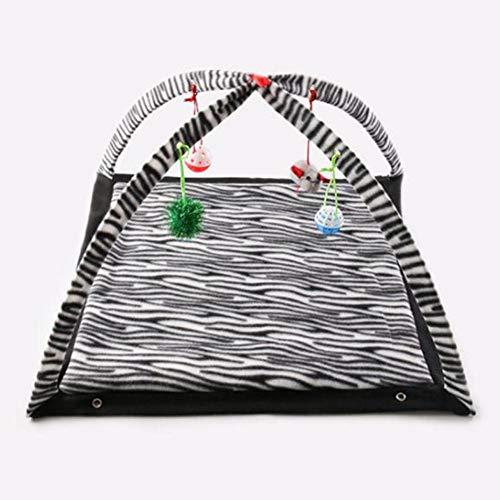 Rikey Haustier Krabbeln Spielzelt, Katzenspielzeugbett, faltbares Mehrzweckzelt, Zebra-Muster mit kleinem Spielzeug Haustier Krabbeln Spielzeltmatte