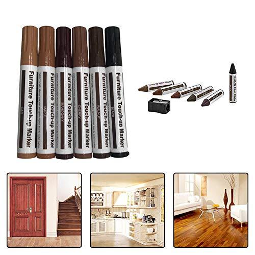 Marker reparieren mit Spitzer 12Pc Wood Grain Paper Wrapped Wax Sticks für Möbelboden Scratch -