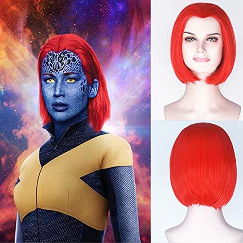 Kostüm Mystique Men X Der - Blue Bird Synthetische Kurze Bob Red Perücke der Film X-Men: Dark Phoenix Mystique Cosplay Perücken Für Frauen Kurze Gerade Heiße Rote Haare für Mädchen Cosplay Party Verwenden