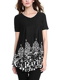 BAISHENGGT - Femme T-Shirt Imprimé Tunique Taille Loose