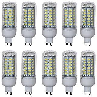 Aoxdi 10X G9 8W LED Light Bulbs, Cool White, 56 SMD 5730 G9 LED Corn Bulb Lamp, 360 Degree Beam Angle, AC 220-240V