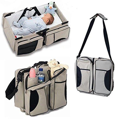 Lovelybaby - Borsone multiuso 3 in 1, con funzione di borsa per cambio pannolini, culla portatile da viaggio e fasciatoio, adatta per neonati