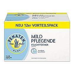 Penaten Mild Pflegende Feuchttücher – Babypflegetücher ohne Alkohol, dermatologisch getestet – Vorteilspack: 12x56 Stück