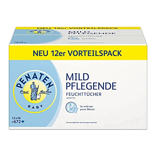 Penaten Mild Pflegende Feuchttücher, Babypflegetücher ohne Alkohol, dermatologisch getestet, Vorteilspack 12er Pack (12 x 56 Stück)