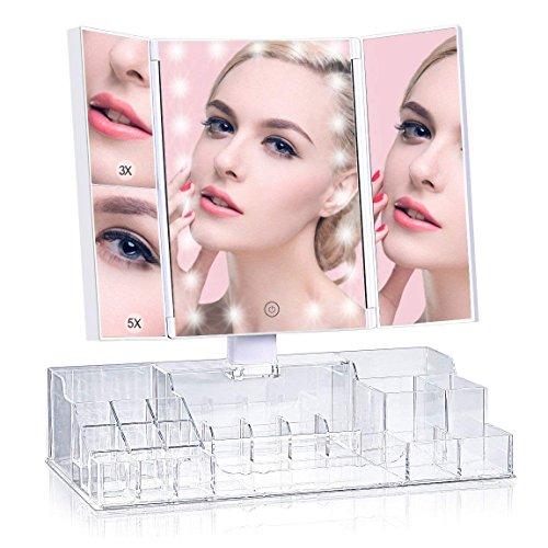 ISENPENK Kosmetikspiegel mit Make-up Aufbewahrungsbox Make-up Spiegel 180°Schwenkbar Schminkspiegel mit eingebauter 21 LED-Licht, 3x 5x Vergrößerungsspiegel, Touch Dimmbar, Faltbare Tischspiegel für Frauen / Maskenbildner (Aufbewahrungsbox Licht)