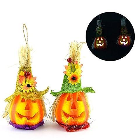 2 pcs Halloween Creative LED Light Scarecrow Pumpkin Shaped Lantern Color Changeable Decorative Night Light Performance Prop Lamp for Outdoor Decor KTV Bar Party