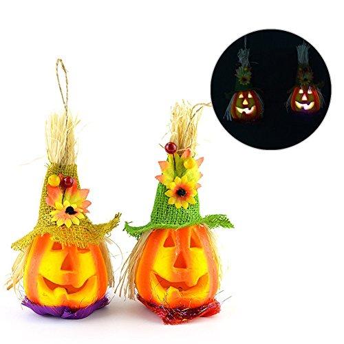 2 Stücke Halloween-kreativer LED-heller Vogelscheuche-Kürbis geformte Laterne-Farbe veränderbare dekorative Nachtlicht-Leistungs-Stab-Lampe für im Freiendekor KTV (Dekorationen Für Klassenzimmer Halloween)