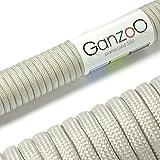 Paracord 550 Seil Edel-Grau | 31 Meter Nylon-Seil mit 7 Kern-Stränge | für Armband | Knüpfen von Hunde-Leine oder Hunde-Halsband zum selber machen | Seil mit 4mm Stärke | Mehrzweck-Seil | Survival-Seil | Parachute Cord belastbar bis 250kg (550lbs) - Marke Ganzoo