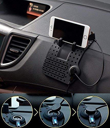 Ramanta Car Holder Soft Silicone Magnetic Socket Flexible Super Tough GPS Navigation Phone Holder with Charging USB Cable Compatible with All Android & iPhone Mobiles for Ford EcoSport