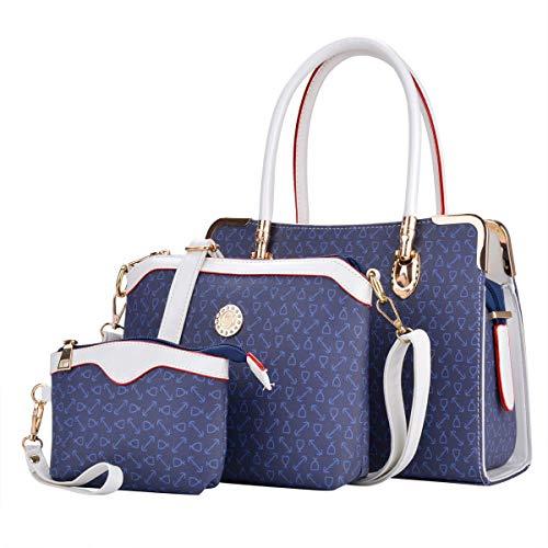 COOFIT Damen Leder Handtaschen Umhängetasche Schultertasche Schulter Hobo Set (Leder Blau)