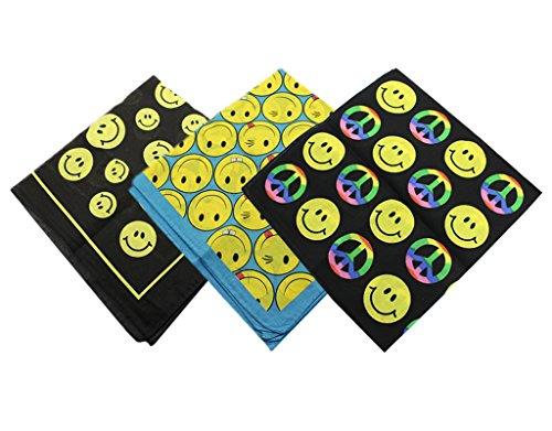 BONAMART® 3PCS Paisley Bandana Baumwolle Biker Schal Maske Haarband Head Taschentücher Gr. One size, Blue&Black&Peace Smile Face (Blue Bandanas Paisley)