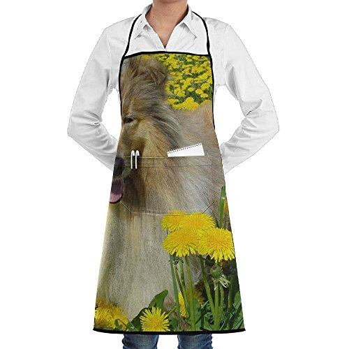 Kostüm Collie - Dog Dandelion Collie Flower Schürze Lace Adult Mens Womens Chef Adjustable Polyester Long Full Black Cooking Kitchen Schürzes Bib With Pockets For Restaurant Baking Crafting Gardening BBQ Grill