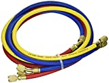 Sourcingmap a15032500ux0591 55-Inch HVAC 1/4-Inch SAE 500 PSI Charging Hoses for AC Refrigerant R410A R134A