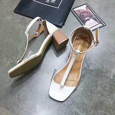 LvYuan Da donna Sandali Comoda Gomma Estate Footing Comoda Fibbia Heel di blocco Bianco Nero Meno di 2,5 cm Black