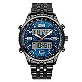 reloj militar doble horario resistente con función de calendario acuático masculino