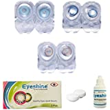 Eyeshine sky blue | drak blue | hazel Color Monthly Contact Lens 3 Pair With Case And Solution By T&R Lens
