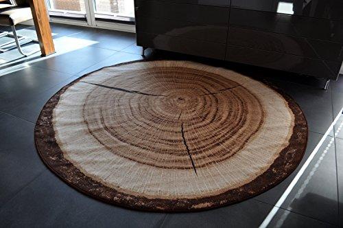 Design Teppich rund Holz Baumstamm 200cm Baumscheibe HR-2 NEU Holzmuster -