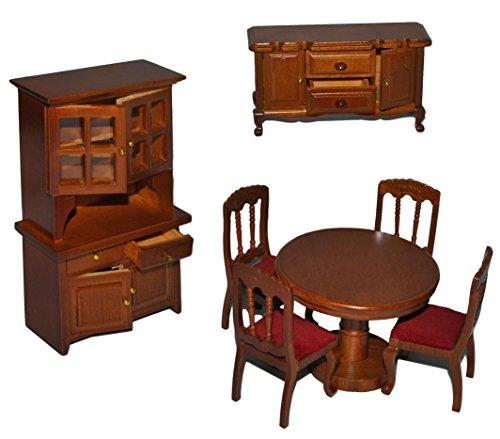 7 tlg. Set: Speisezimmer / Eßzimmer aus dunklem Holz - Miniatur - Schrank + 4 Stühle + Tisch + Kommode - Puppenstubenmöbel für Puppenstube Maßstab 1:12 - Puppenhaus Puppenhausmöbel Küche - Puppenstubenmöbel Kirsche - Geldgeschenk - Küchenmöbel - Retro Design Nostalgie - Küchenausstattung - Mini Deko - Modell Möbel (Dunkles Schränke Holz)