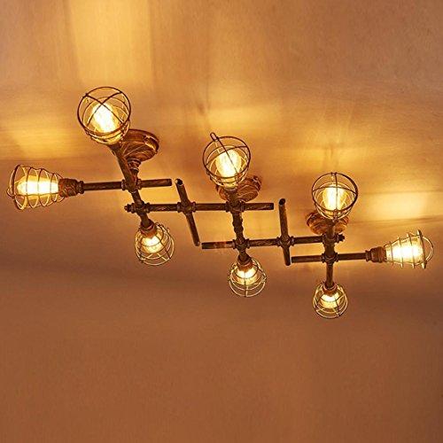 Metall-decken-beleuchtung (Kreativ Antik 8-Flammig Deckenstrahler Leuchter Retro Vintage Industrielampe Deckenlampe E27 Deckleuchte Loft Metall Wasserrohr Decke Lampe Innen Beleuchtung für Wohnzimmer Schlafzimmer Balkon Bar)