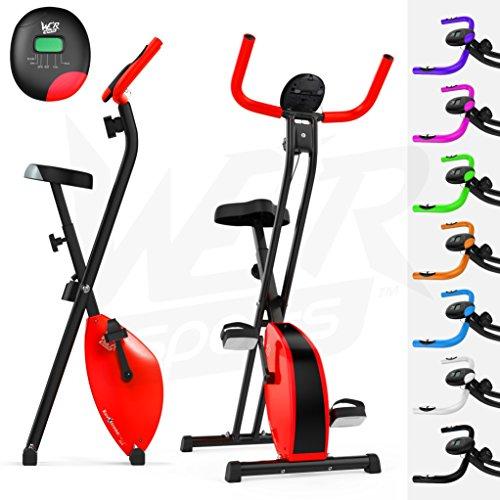 We R Sports X-Bike cyclette/ergometro ripiegabile, magnetico, per allenamento fitness, cardio, workout e perdita di peso, Rosso (rot - rot)