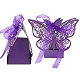 gnrjgs Hollow Butterfly Ribbon Candy Box für Hochzeit Supplies 50 PCS Schleife Decor Violett