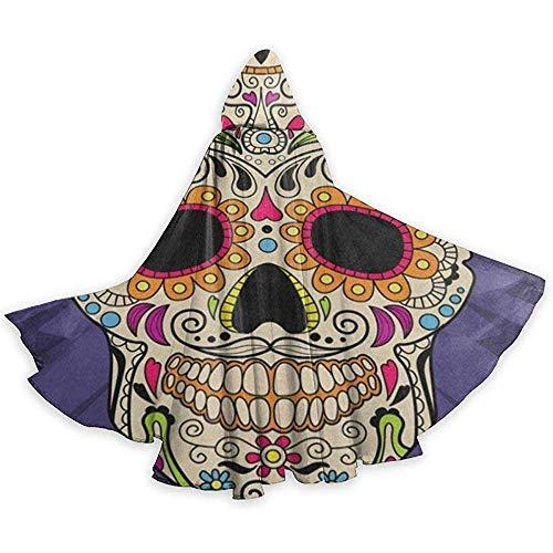 Erwachsenen Mantel Unisex Halloween Kostüm Mexikaner Dia De Los Muertos Schädel Blume Cosplay Mantel (Teenager Schwarze Witwe Kostüm)