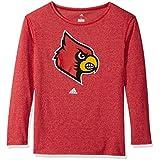 NCAA Louisville Cardinals Womens Her Full Color Primary Logo L/s Crew Teeher Full Color Primary Logo L/s Crew Tee, Power Red, Medium