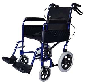 Lightweight aluminium folding transit travel wheelchair with handbrakes - Weighs only 11kg