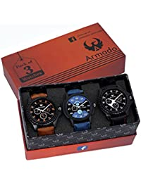 Armado Analogue Blue & Black Dial Men's Watch(Ar-621251, Pack Of 3)
