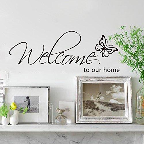 Rainbow Fox 'Welcome to My Home DIY Wall Decal Art Farfalla Citazione dicendo murale Wall Sticker Adesivo Soggiorno Ingresso