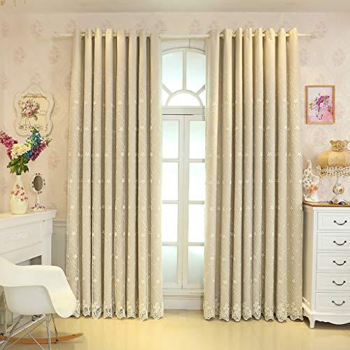 Tenda finestra tenda garza camera da letto ombreggiatura panno pieghe tende oscuranti, ombreggiatura soggiorno balcone finestra decorativa (colore : beige, dimensioni : 1*w2.0*h2.0m)