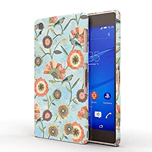 Koveru Designer Printed Protective Snap-On Durable Plastic Back Shell Case Cover for SONY XPERIA Z3 - Blue Flower Art