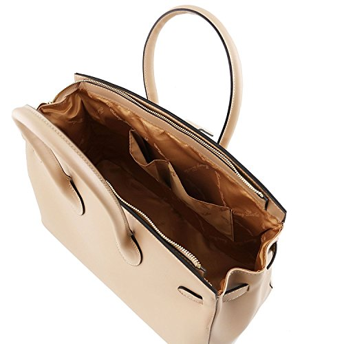 Tuscany Leather Elettra - Sac à main pour femme en cuir Ruga avec finitions couleur or - TL141548 (Taupe clair) Rouge