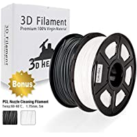 PLA Filament, 3D Hero PLA Filament 1.75mm,PLA 3D Printer Filament, 3D Printing Materials, Dimensional Accuracy +/- 0.02 mm, Bonus with 5M PCL Nozzle Cleaning Filament