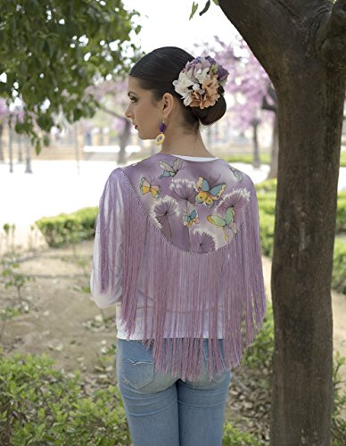 Mantón/ Mantón de seda/ Mantoncillo de flamenca/ Mantón pintado a mano/ Mantoncillo mariposas/ Mantón morado