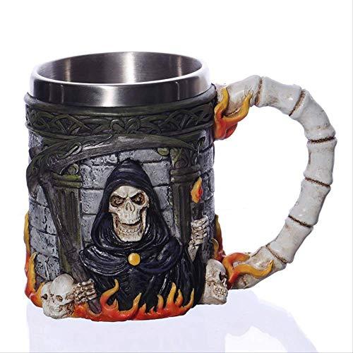 1 Stück Kreative Totenkopf-Becher 450 ml Wikinger Ram Horned Pit Lord Warrior Bierkrug Kaffeetasse Teetasse Halloween Bar Geschenk, M1, 450ML(FULLED) (450 Stück Puzzles)