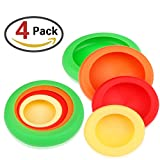 ZesGood 4 Pack Reusable Silicone Food Huggers Food Saver Cover for Fruits and Vegetable Storage With PVC Package (Random Colors)