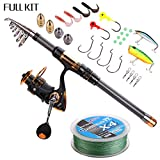 Supertrip TM Spin Spinning Fishing Rod and Reel Combos Full Kit Carbon Telescopic Fishing Rod with Reel Line Lures Hooks and Accessories Fishing Gear Sea Saltwater Freshwater Kit 2.7M 8.8ft Fishing Full Kit