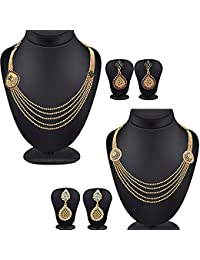 Spargz Antique Multi Leher AD Stone Gold Plating Pack Of 2 Necklace Set For Women Combo 674