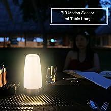 Senweit 1unidades redondo inalámbrico PIR Sensor lámpara de mesa LED noche luz super brillo 3AAA Pilas Power (no incluido)