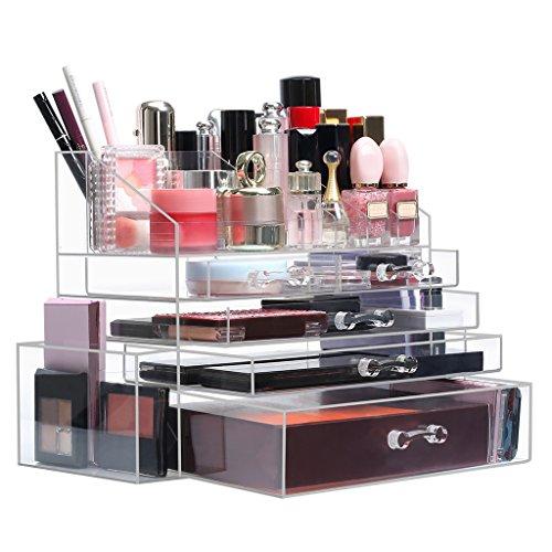 Langria scatola cosmetici organizzatore da trucco materiale acrilico con 5 cassetti e 18 custodie per cosmetici per matite, gioielli spazzole e accessori cassa per trucco trasparente