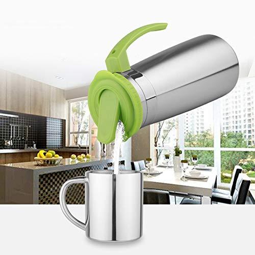 HUANGMENG Tazza da 1,3 litri in acciaio inox Acqua teiera Bollitore Brocca Bevanda fredda Succo di pentola con manico e coperchio (rosa) HUANGMENG (Colore : Green)