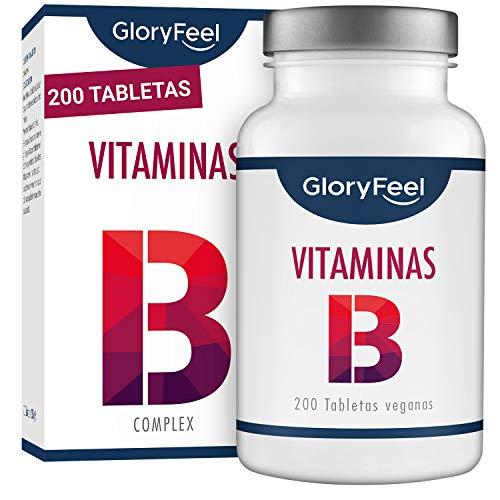 GloryFeel® Vitamina B Complex - 200 tabletas veganas de vitamina B - Dosis altas B1 B2 B3 B5 B6 B7 (biotina) B9 (acido folico) y B12 - Complejo Vitamina B las 8 Vitaminas en una - Apoyo inmunologico