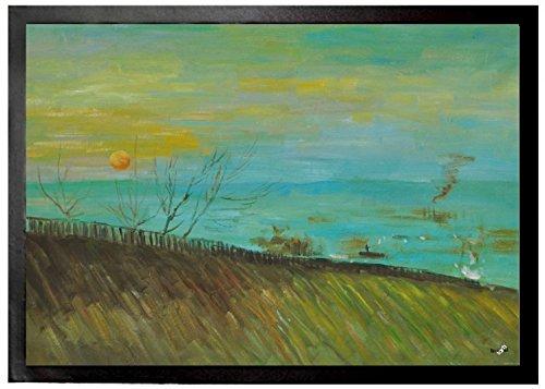 Preisvergleich Produktbild 1art1 94845 Vincent Van Gogh - Landschaft Mit Fabriken Im Mondlicht, 1887 Fußmatte Türmatte 70 x 50 cm